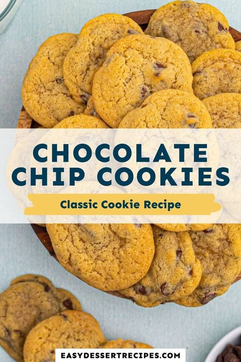 These homemade chocolate chip cookies have crispy edges, perfectly melted chocolate chips and the best chewy texture! This cookie recipe is simple enough for the kids to help. #chocolatechipcookies #easytreat #cookierecipe #bakingwithkids