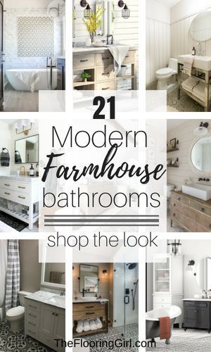 21 Modern Farmhouse Style Bathrooms for a Rustic Shabby Chic Look.  #farmhousestyle #bathroom #farmhousedecor #shabbychic #rustic #bathroomideas #rusticdecor #bathroomdesign #farmhouse