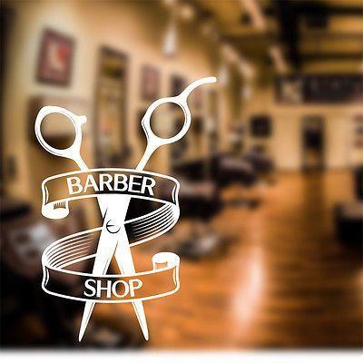 Barber Shop Wall Sticker scissors decal sign door art hair graphic bb1