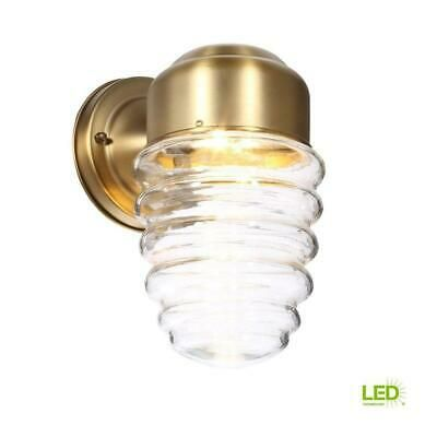 Led Bulb Included Hampton Bay Clear Glass Shade Approved For Wet Locations Weather Resistant Constr In 2020 Wall Lantern Wall Sconce Lighting Outdoor Wall Lighting