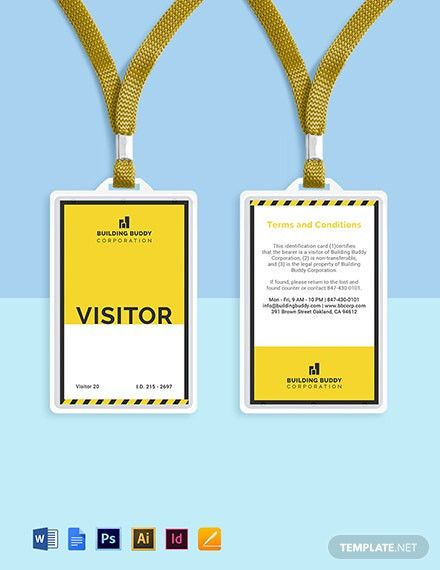 Church Visitor Card Template Word In 2021 Id Card Template Card Template Badge Template