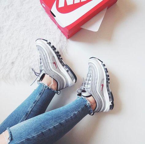 Nike Air Max 97 In Grau Weiss Rot Grey White Red Foto Audreymayer Instagram Adidas Schuhe Frauen Air Jordan Schuhe