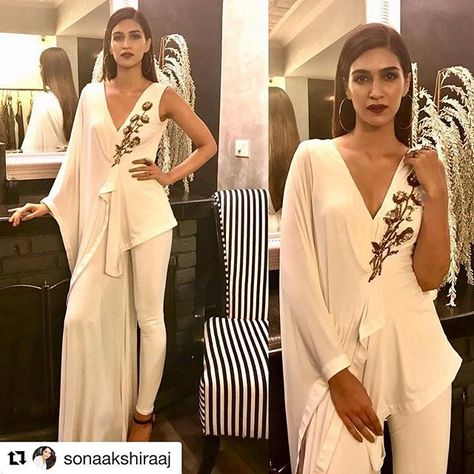 Congrats Sonaaaa!!! For another milestone.. a new store in Delhi! Woohhoooo! ❤️ @sonaakshiraaj #Repost @sonaakshiraaj with @repostapp ・・・ Defining the word #SLAY quite literally is @kritisanon in our ivory draped jumpsuit for our Delhi store launch! #SonaakshiRaaj #NowInDelhi HMU- @adrianjacobsofficial & @aasifahmedofficial #JawDropGorgeous #MyStunner #KritiSanon ❤️