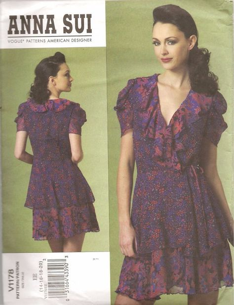 Vogue Sewing Pattern V1178 Anna Sui Designer Ruffled Wrap Dress Size ...