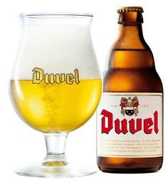 Belgian beer: Duvel (means devil). Take care when you try it, because it's got a high alcohol percentage.