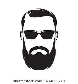 Bearded Men Face Hipster Character Fashion Silhouette Avatar Emblem Icon Label Vector Illustration Beard Vector Male Face Beard