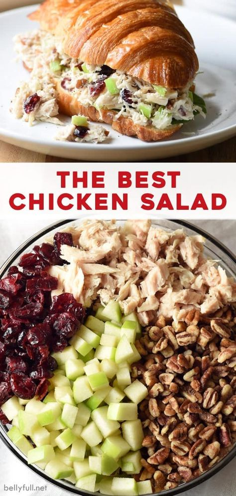 This is the BEST chicken salad recipe. It could not be easier or more delicious. With chicken, cranberries, apples, and pecans, it's wonderful on its own, as a side, or as a sandwich!