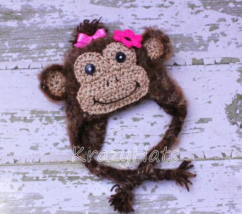 Crochet Fuzzy Monkey hat One of the most original & Cutest monkey hats out there!