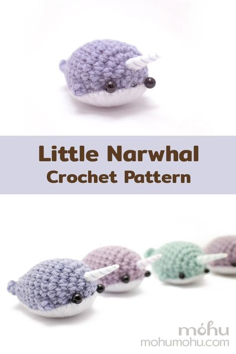 This little narwhal pattern has been on my to-do list for a while now Crochet Bee, Kawaii Crochet, Quick Crochet, Cute Crochet, Crochet Crafts, Yarn Crafts, Crochet Hooks, Crochet Whale, Crochet Granny