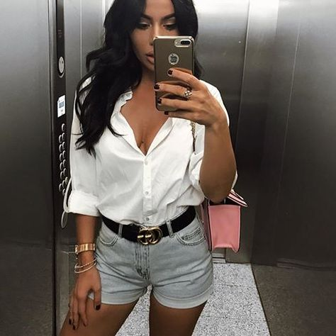My fav fit✌ Shirt Shorts Hair extensions Black Brown (discount code JELENA on hair extensions)