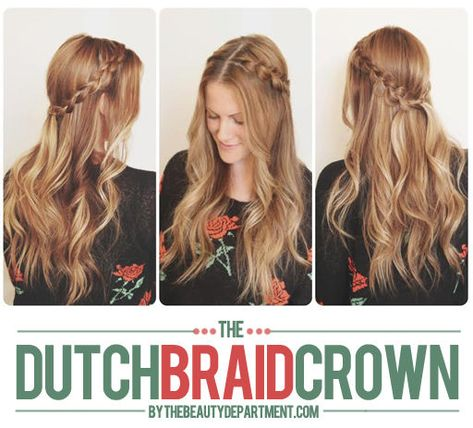 We're back with another holiday party hair idea! This time the dutch braid crown! See the full tutorial by clicking the photo! xo