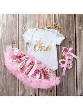 Infant Toddler Baby Girl Outfits 1st Birthday Romper Wild One Top Bow Knot Tutu Skirt 2PCS Summer Clothes
