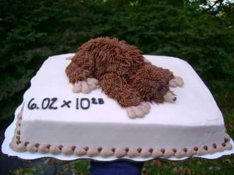 Mole sheet cake decorated with buttercream icing and a cupcake mole on top
