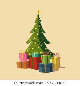 Christmas Tree With Gifts Cartoon Vector Illustration Star Decoration Balls And Light Bulb Chain Isolated Background H Christmas Tree With Gifts Merry Christmas Vector Christmas