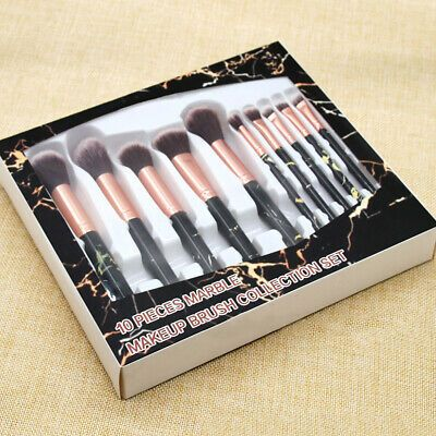 Au 10pcs Marble Handle Makeup Cosmetic Powder Foundation Eyeshadow Brushes Set