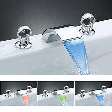 126 38 Bathroom Sink Faucet Waterfall Widespread Chrome Widespread Two Handles Three Holesbath Taps Brass Bathroom Sink Faucets Faucet Bathroom Sink Faucets Chrome