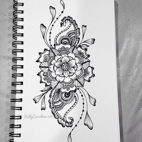 Sketched henna design with flowers and paisleys. i want this as a tattoo on the front of my thigh(: ------ love this!