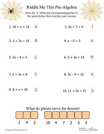 Pre Algebra Fun Worksheet Education Com Algebra Worksheets Algebra Fun Pre Algebra Worksheets