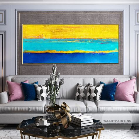 Yellow Blue Abstract Color Print Acrylic Print On Canvas Art Ready To Hang Framed Painting Wall Art Picture Home Canvas Prints Wall Art Painting Blue Abstract