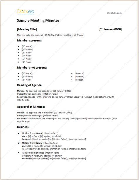Sample Meeting Minutes Light Format Meeting Agenda Template