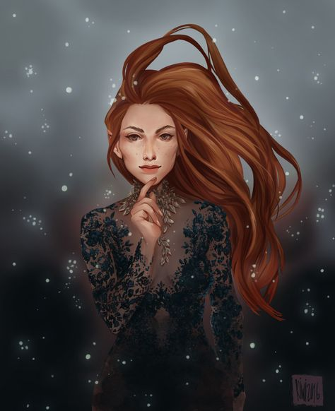 "donkiwi: ""  I have been on a little reading spree and i couldn't help myself drawing Feyre from A Court of Thorns and Roses/A Court of Mist and Fury, This is inspired on ACOMAF, did try a little animation, might try to post it through my instagram..."