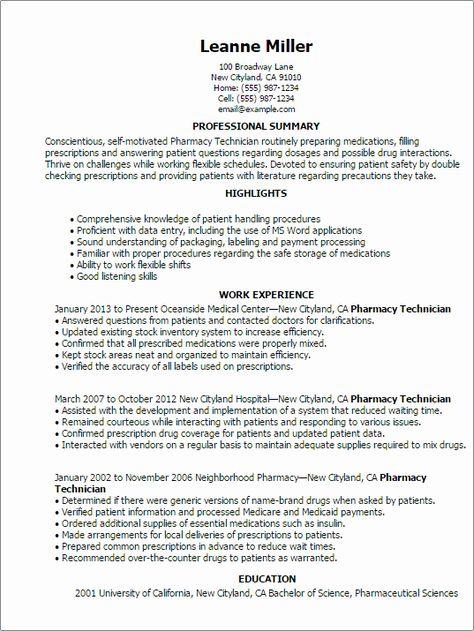 40 Pharmacy Tech Resume Samples In 2020 Job Resume Samples