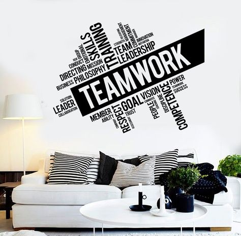 Teamwork Vinyl Wall Decal Word Cloud Success Office Decor Worker Stickers Unique Gift in X in / Black