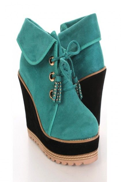 Green Folded Cuff Faux Suede Lace Up Bootie Wedges