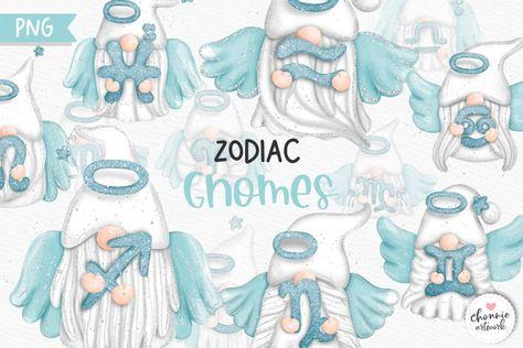 Zodiac Gnomes Clipart, Angel Gnomes Zodiac (1346183) | Illustrations | Design Bundles
