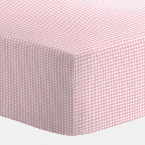 Pink Gingham Crib Sheet Clothing, Pink Gingham Baby Bedding