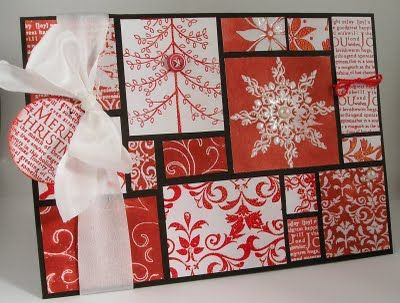 Patchwork Christmas Card - a nice project to get rid of all left over paper pieces :)