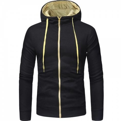ZUEVI Men/'s Casual Sweatshirts Striped Drawstring Hooded Zipper Closure Hoodies