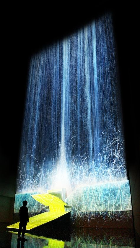 Digital Waterfall Projected On A Satellite Gives The Illusion Of Weightlessness