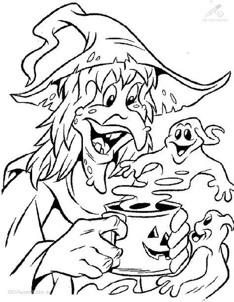hexe und gespenster  malvorlagen halloween herbst
