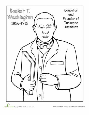 Booker T Washington Coloring Page Black History Month People