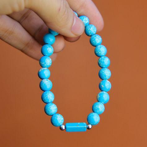 Earth Beaded Bracelet - Large (21cm) / Earth Blue