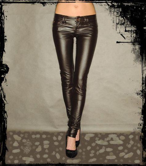 ☆ DAMEN SEXY LEDER HOSE RÖHRENHOSE HÜFT LEGGINGS TREGGINGS 26 - 30 ☆ | eBay