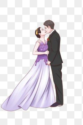 مرسومة باليد فستان زفاف فستان العروس والعريس العروس التقاط صورة توضيح Png وملف Psd للتحميل مجانا Kartun Ilustrasi Vektor Ilustrasi