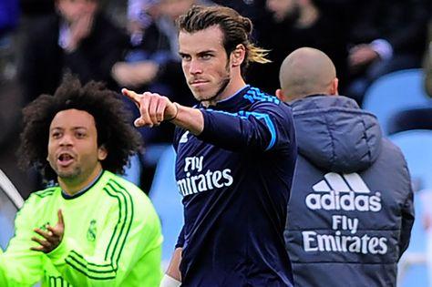 Gareth Bale celebrates a goal next to Marcelo. Real Madrid