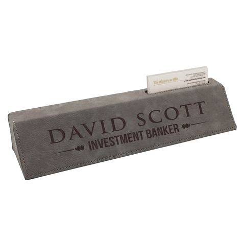 Custom Engraved Desk Name Plate Personalized Wedge With Business Card Holder Gray You Could Discover Even More Information By Going To The Photo