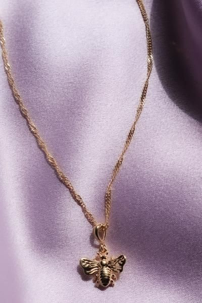 Delicate Gold Bee Necklace  Gold Plated Sterling Silver Necklace