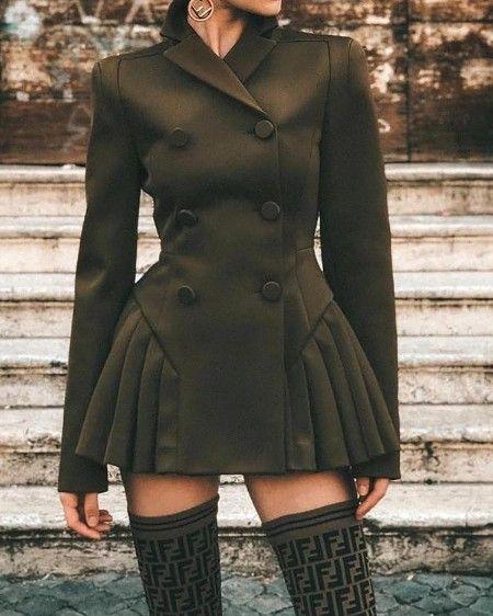 Double Breasted Long Sleeve Blazer Dress