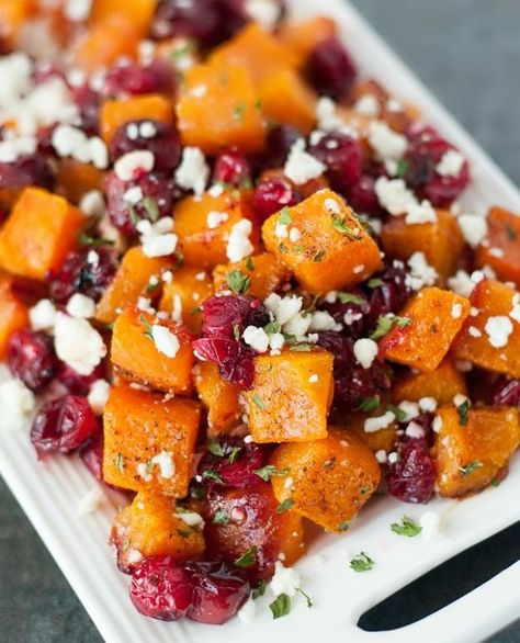 honey roasted butternut squash with cranberries and feta 18 christmas side dishes every christmas table needs - Christmas Side Dishes Pinterest