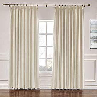 Amazon Com Macochico Pinch Pleated Faux Silk Curtains With Interlining For Travers Large Window Curtains Window Curtains Living Room Floor To Ceiling Curtains