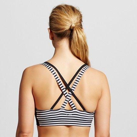 aeda27ea00 C9 Champion® Women s Strappy Cami Sports Bra - Black White Stripe M   Target