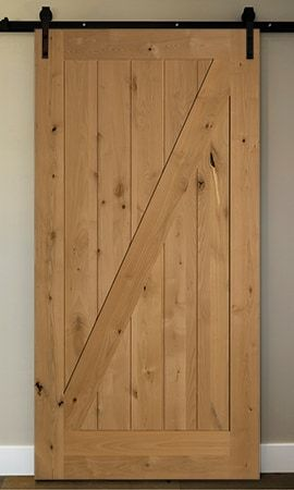 Builddirect American Door Company 42 X 84 Knotty Alder 1 Panel Z Bar Barn Door With Black Hardware Inside Barn Doors Barn Door Barn Doors Sliding
