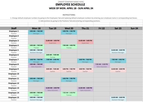 Free Excel Template for Employee Scheduling When I Work Projects - new 6 template statement of work