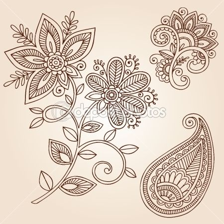 Henna Flowers and Paisley Doodles Vector Design Elements by blue67 - Stock Vector