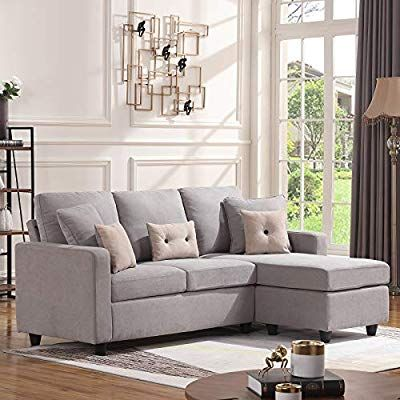 Amazon Com Honbay Convertible Sectional Sofa Couch L Shaped Couch With Modern Linen Fabric For Sma Sofas For Small Spaces Sectional Sofa Couch L Shaped Couch