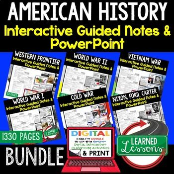 American History Guided Notes & PowerPoints BUNDLE, US